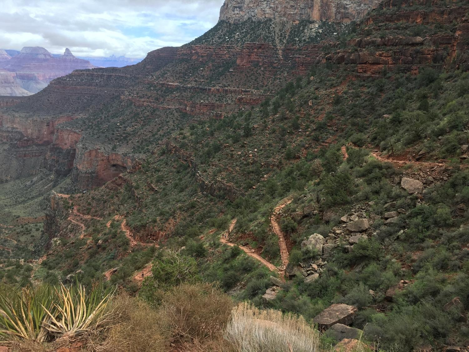 The South Kaibab trail on the South Rim of the Grand Canyon. The trail merges with the Bright Angel trail to go down to the Colorado River.
