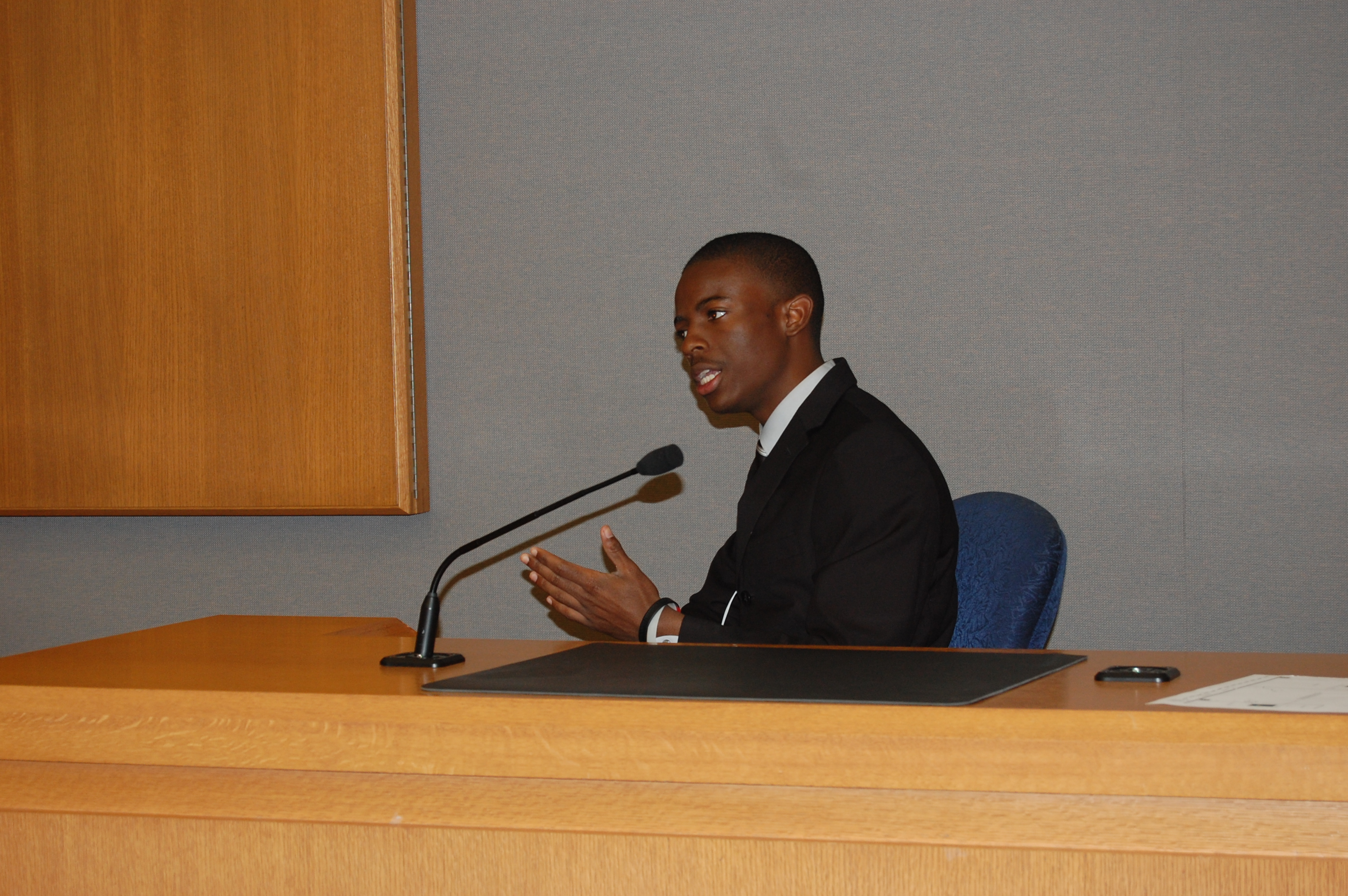 Senior team member Kenny Cochran portrayed witness Luiz Montague on March 17, during the mock trial state competition.