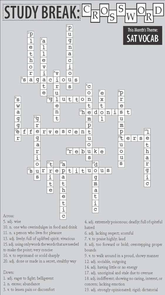 Issue One Study Break Answer Key Crossword Puzzle The