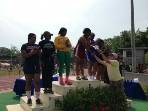 Nyla Woods wins state competition for shot put