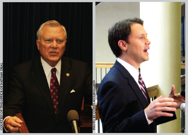 DEAL+OR+NO+DEAL%3A+Republican+Gov.+Nathan+Deal+%28left%29+addressing+Georgia%E2%80%99s+response+to+January%E2%80%99s+snow+storm.+Democratic+state+Sen.+Jason+Carter+%28right%29+announced+his+candidacy+last+November%2C+and+later+critized+Deal%E2%80%99s+response+to+the+storm.
