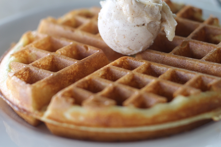 West Eggs waffle with spiced honey butter