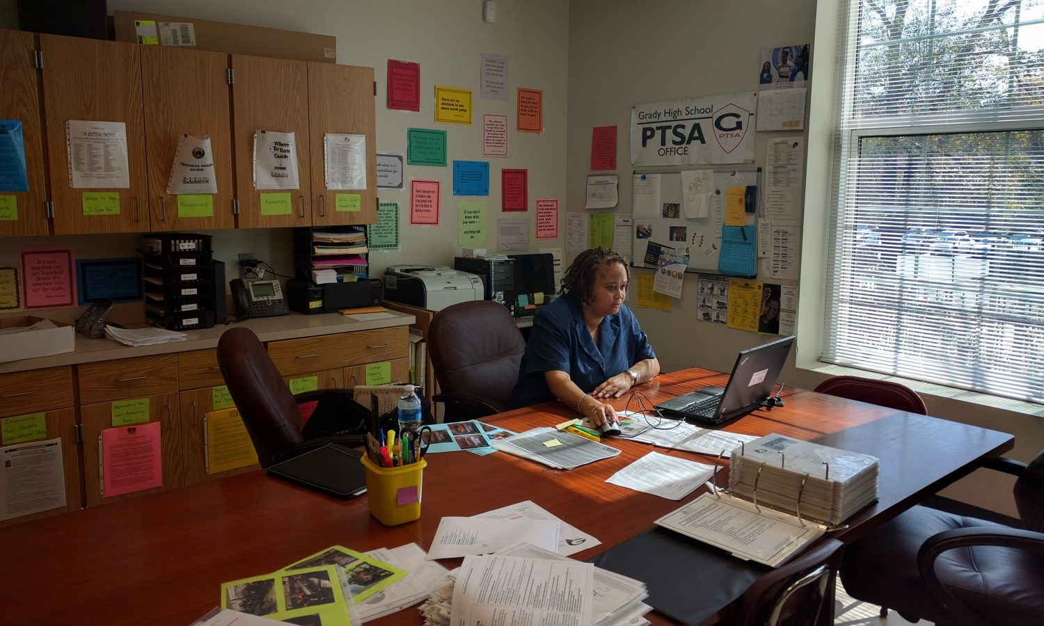 POPULATION SHIFT: Jacqueline Marable, the parent liason,  runs the Parent Center which provides resources to parents and students.  Title 1 pays for the center,  Marable's position and two instructional coaches. Next school year Grady may loose $75,000 in Title 1 funds