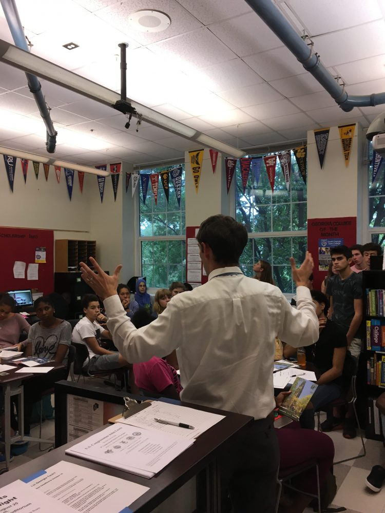 A Yale representative speaks to juniors and seniors about college admissions. Photo by: Anna Winer