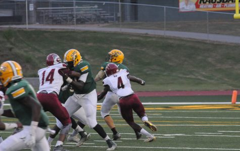 Junior Jalen Rivers forces a fumble on the first play of the game for the Knights defense.