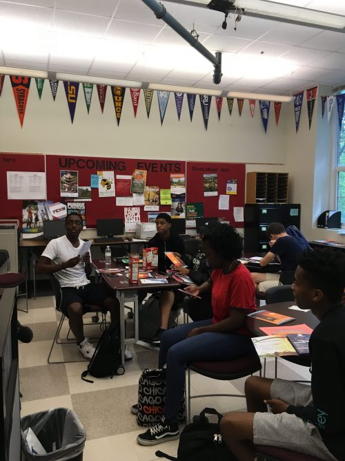 Grady+students+listen+to+college+representatives+in+the+College+Career+Center.+The+college+visits+provide+valuable+information+in+college+decision+making.