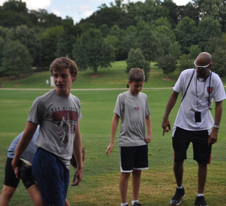 New+Athletic+Director+John+Lambert+leads+boys+cross+country+practice+on+Thursday+Aug.+17+at+Piedmont+Park.+The+first-year+athletic+director+is+the+boys+cross+country+coach+and+girls+track+coach.+