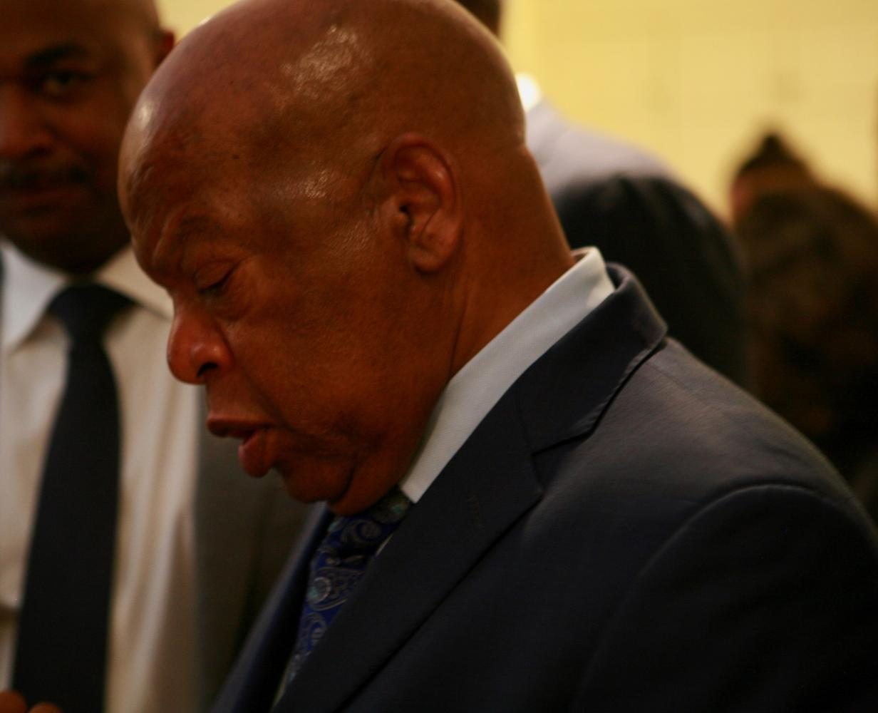Congressman John Lewis speaks at Inman park about current issues including UVA protests.