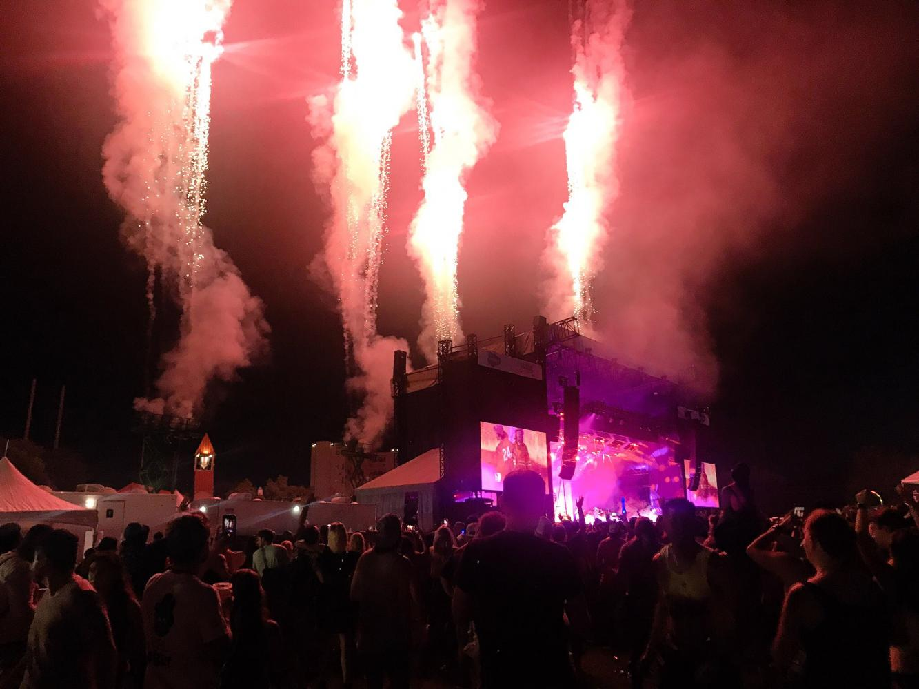 Bruno Mars sets off fireworks on the Salesforce stage during his performance on Saturday night.