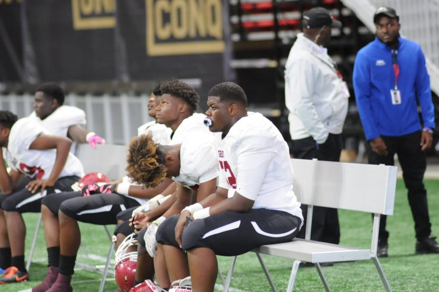 Three Knights show their respective reactions on the bench to the 45-7 scoreline against Maynard Jackson.