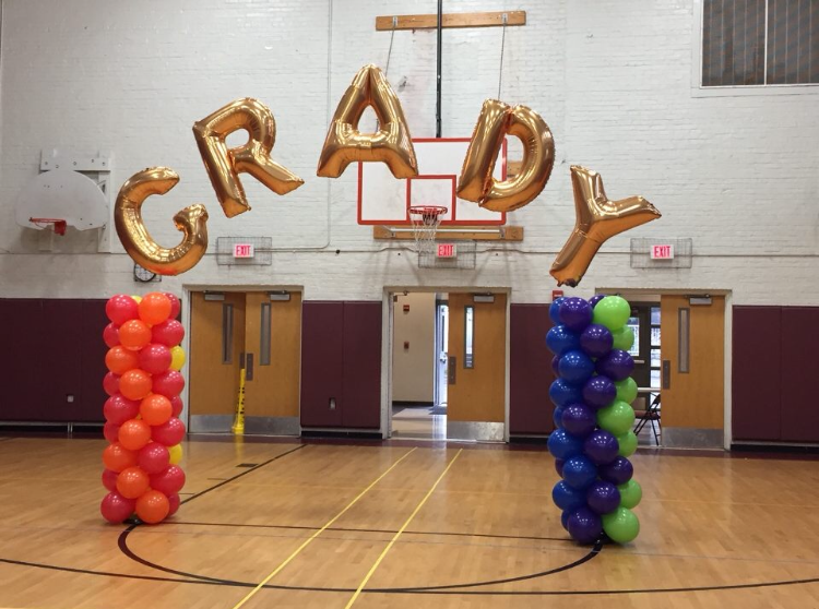 A ballooned arch graces the gym floor before the Oct. 28 homecoming dance.