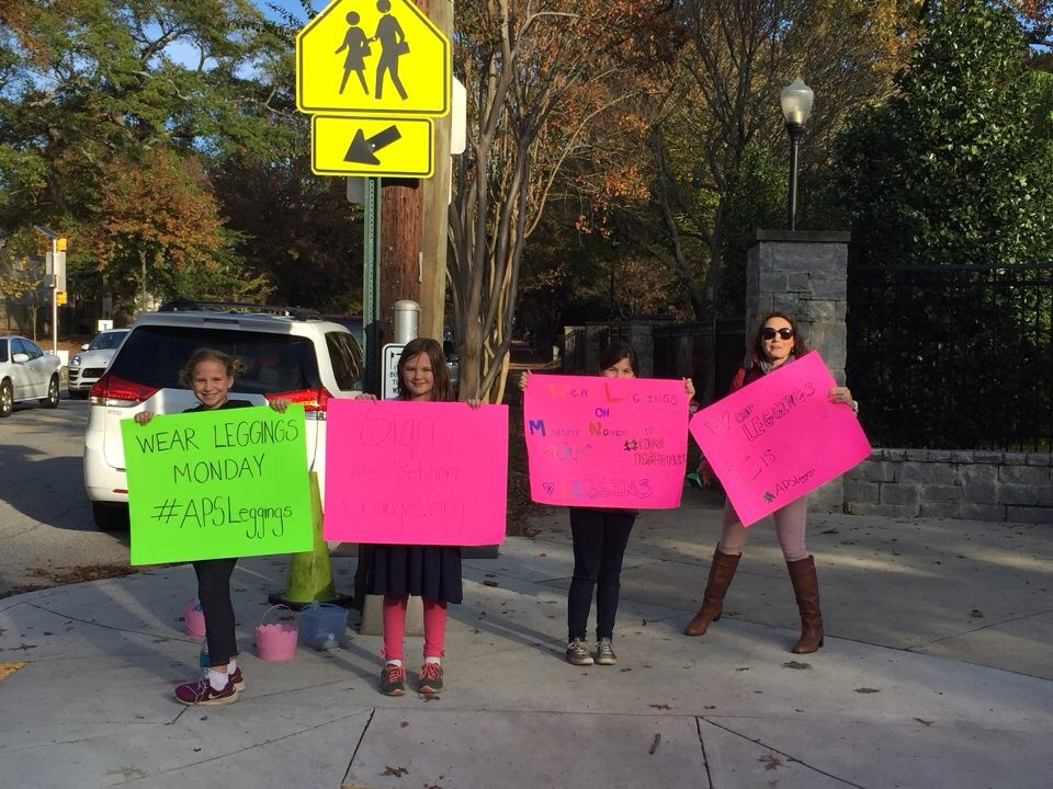 PUSHING FOR POLICY CHANGE: Young Springdale park 5th graders advocate to change the APS dress code policy aimed at prohibiting leggings. Photo courtesy of Kiki Soto
