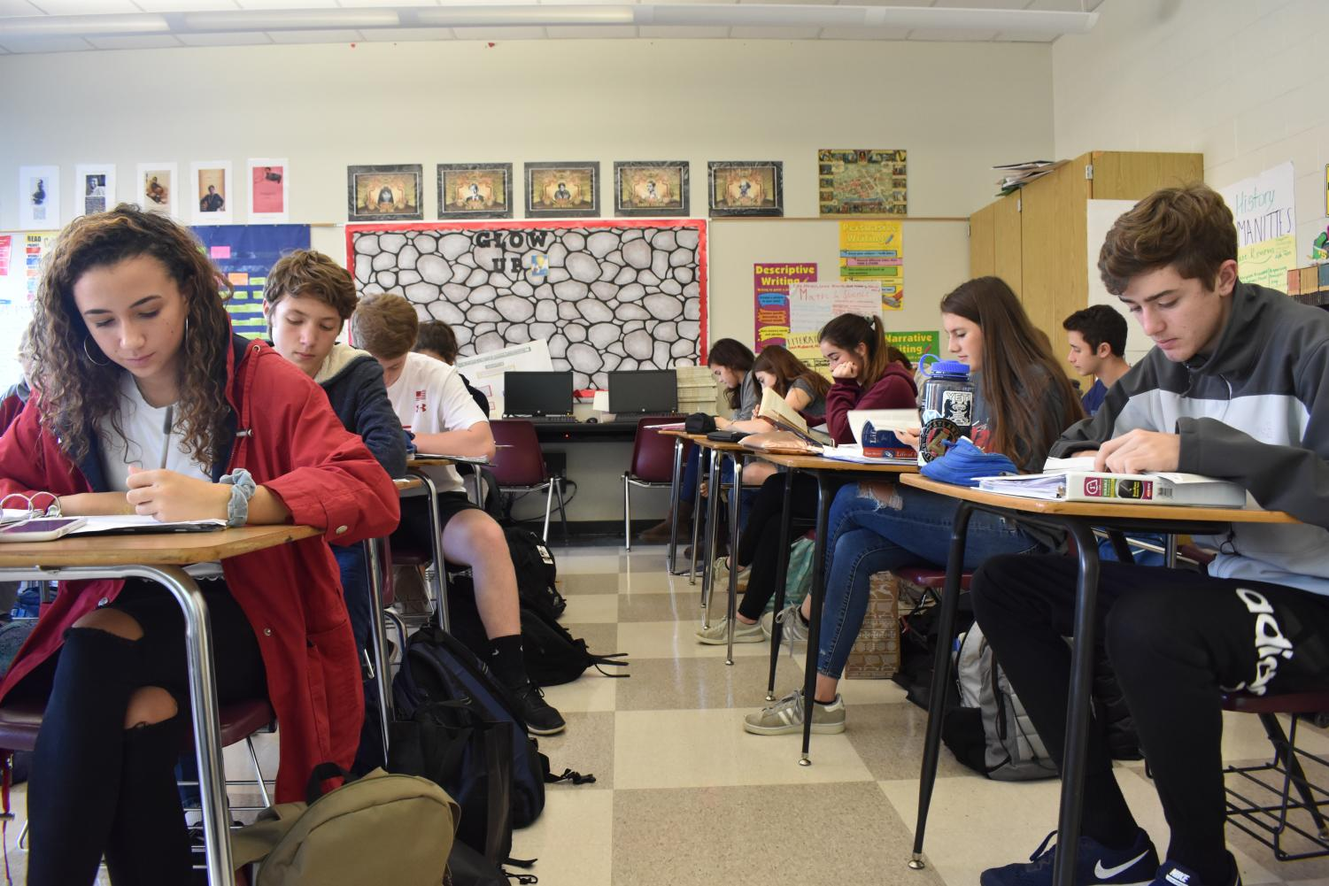 English teacher Carol Kelly's tenth grade literature class, a required Grady course, is filled with students at every desk, leaving no room for new students.