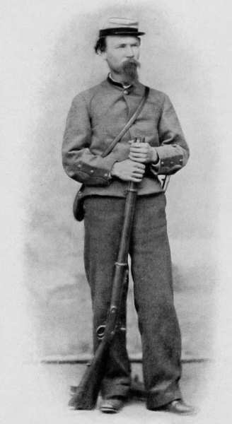 Junior Lena Browns great great grandfather, Confederate Sergeant Barry Benson, stands in uniform. Image courtesy of www.pddoc.com