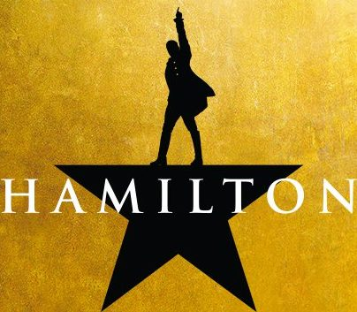 Close -up of Hamilton promotional poster
