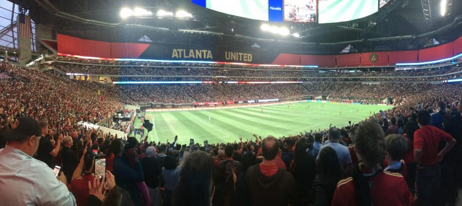 HOME+FIELD+ADVANTAGE%3A+A+crowd+of+45%2C001+gathered+on+Sunday%2C+April+15.+to+watch+Atlanta+United+face+off+against+league+leaders+New+York+City+FC.+The+upper+section+of+the+Mercedes+Benz+Stadium+was+closed+for+this+match%2C+but+when+opened%2C+it+expands+the+stadium%27s+capacity+by+nearly+40%2C000.