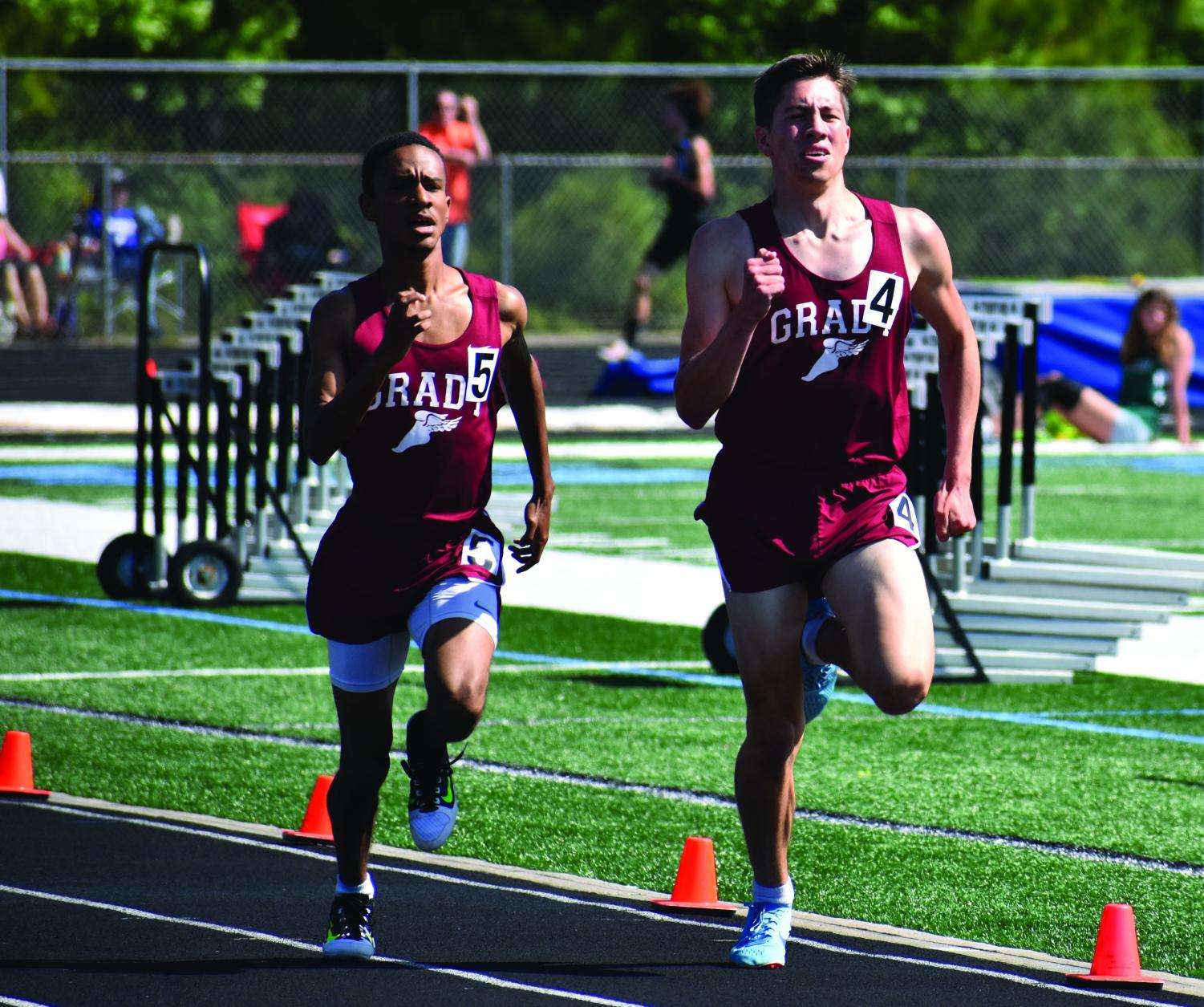Seniors Isaiha Davis and Aidan Goldston finishing 9th and 6th respectivly in the 1600m race.