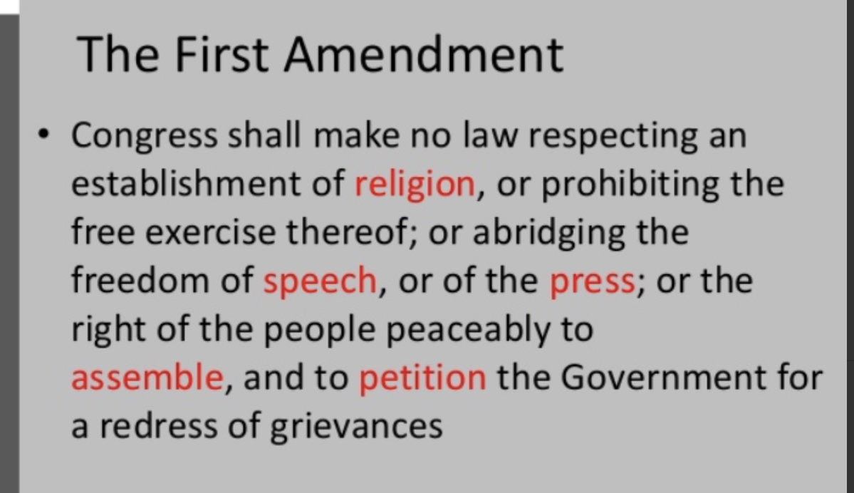The First Amendment of the U.S. Constitution.