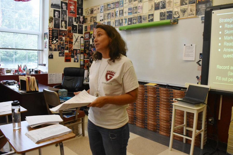 Susan Barber teaches an AP Literature class to Grady seniors.