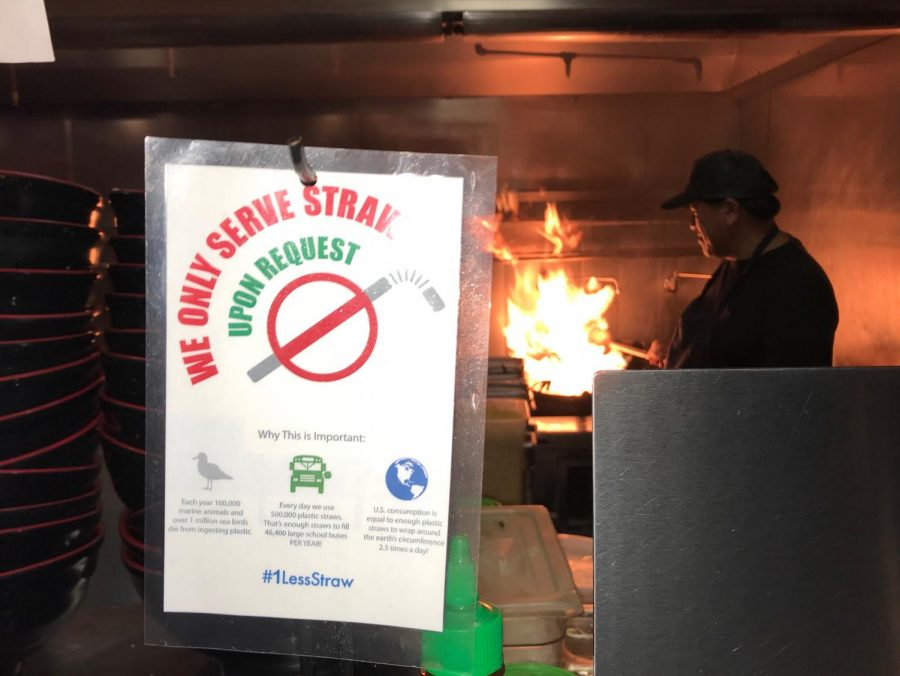 A sign at Doc Cheys Noodle House helps enforce their new no straw policy.