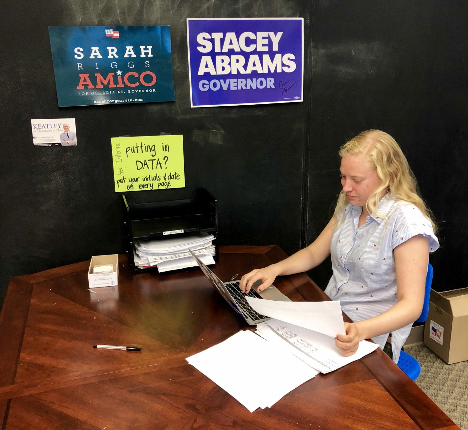 Bea Brown, a 2017 Grady graduate, works on Abrams' campaign.
