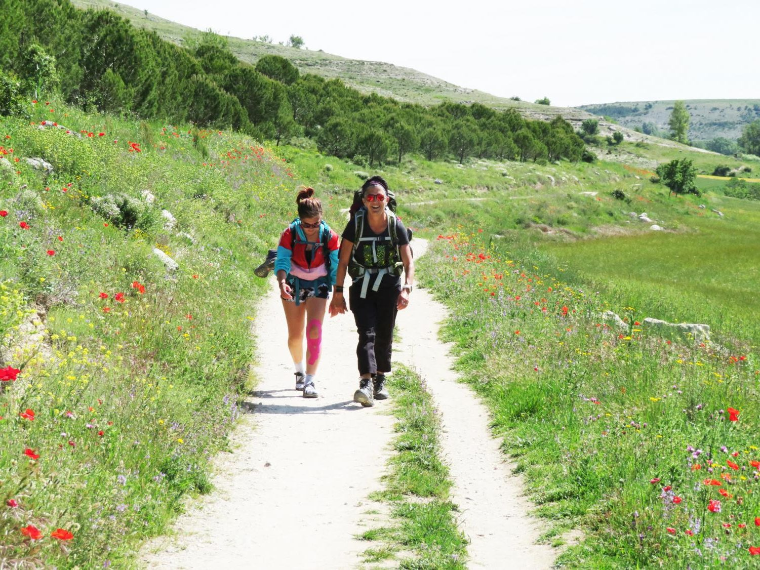 BACKPACKING BUDDIES: Erin Sweeney and her mother, Mary, hike through the Spanish meseta outside of  Burgos, Spain toward town.