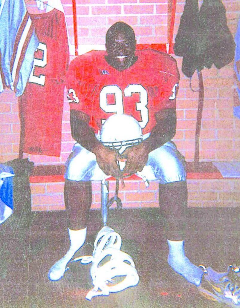Math teacher Jermaine Ross as a college football player.