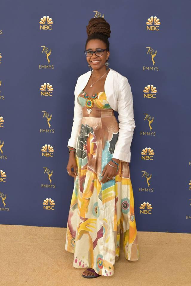 Science fiction writer Nnedi Okorafor  wears dress designed by Grady fashion teacher Valerie Williams at the Emmy Awards on Sept. 17.