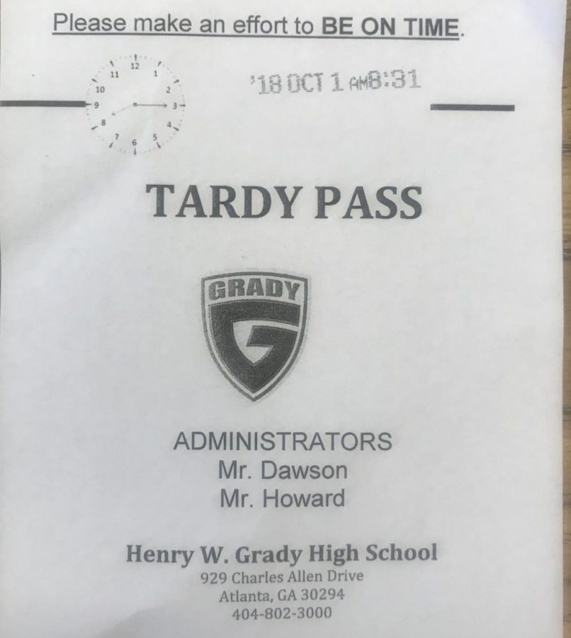 A+first-period+tardy+pass+from+Oct.+1%2C+2018+for+a+student+one-minute+pass+the+8%3A30+a.m.+start+time+for+class.