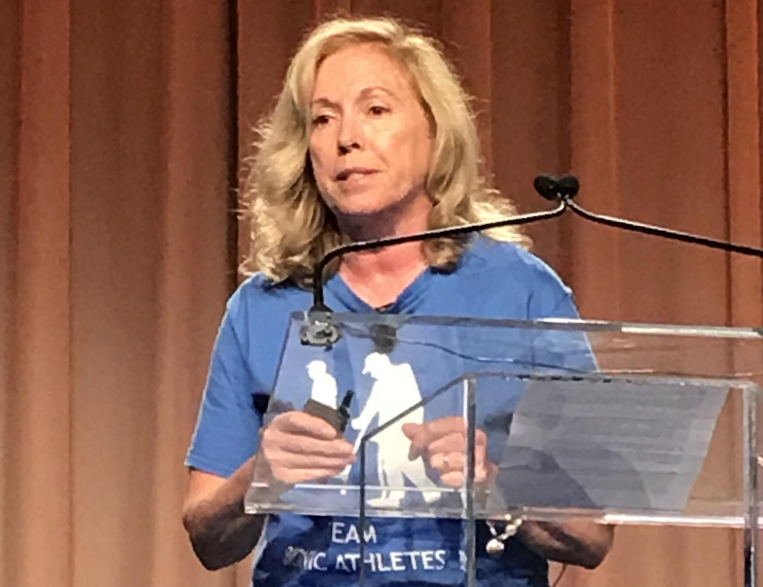 Dr. Ann Spungen, a spinal cord researcher at Icahn School of Medicine at Mt. Sinai University, speaks at a panel discussion about exoskeleton, robotic  technology for paralysis patients at the No Barriers Summit in New York City on Oct. 5, 2018.