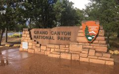 The sign at the entrance to Grand Canyon National Park in Grand Canyon Village, Arizona. The park is 1,902 square miles, and opened Feb. 26, 1919.