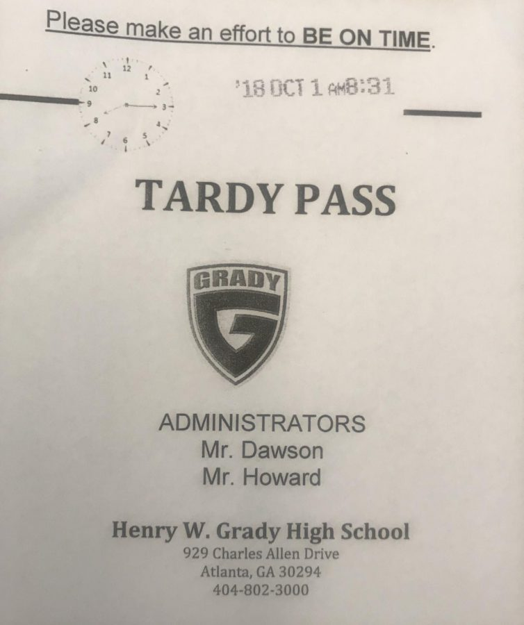 A first-period tardy pass from Oct. 1, 2018 for a student one-minute pass the 8:30 a.m. start time for class.