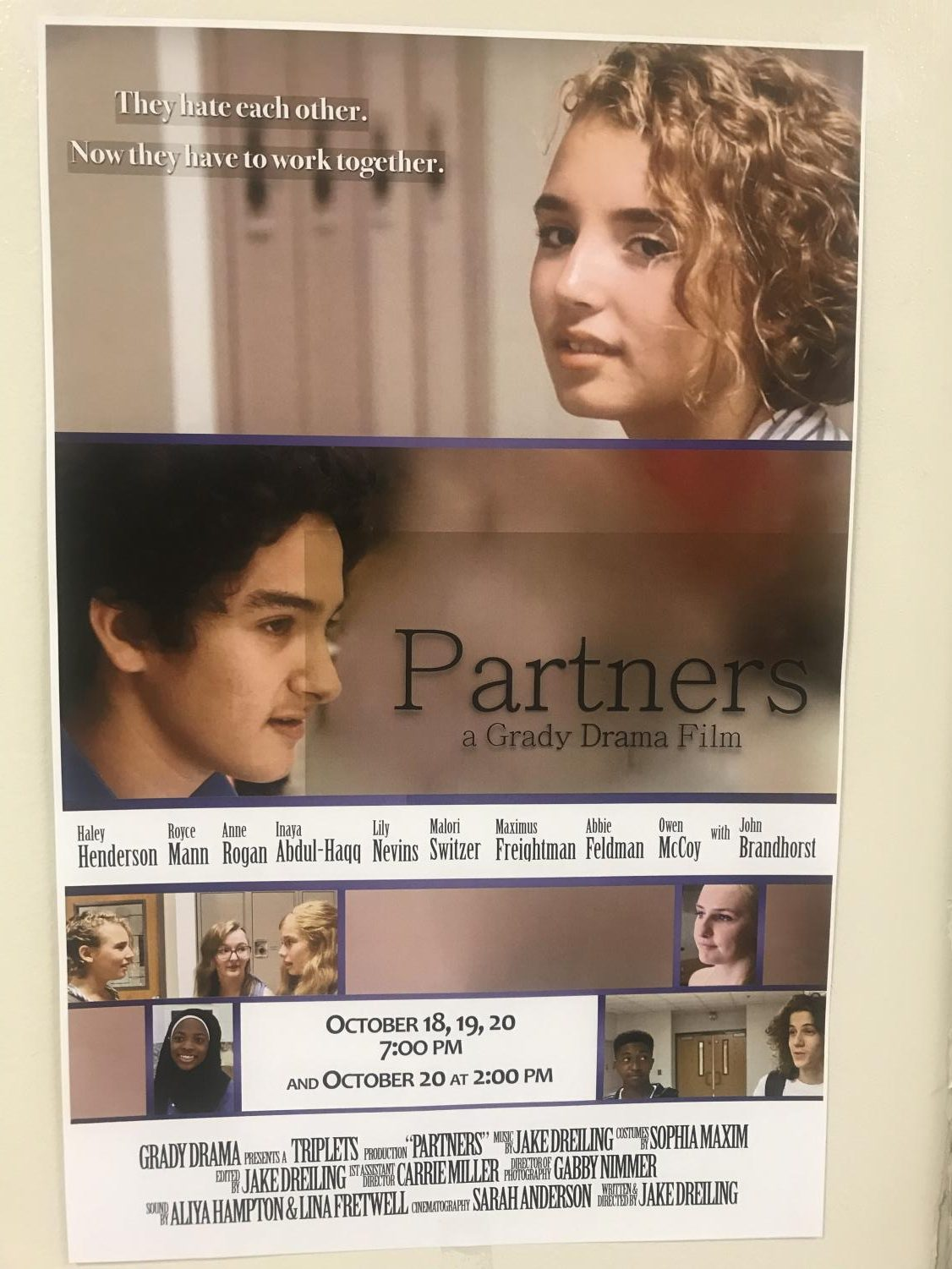 Movie posters advertising the Grady film 'Partners' lined the Grady halls on the week leading up to the shows.