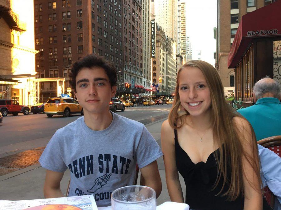 TWINNING+IS+WINNING%3A+Anna+and+Alex+Tischer+eat+dinner+at+their+favorite+Italian+restaurant+in+New+York%2C+Trattoria+Dell%27Arte.