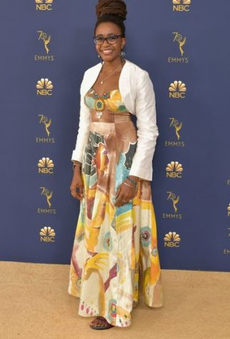 Nnedi Okorafor seen in the Afrocentric dress designed by Ms. Williams and Therez Fleetwood.