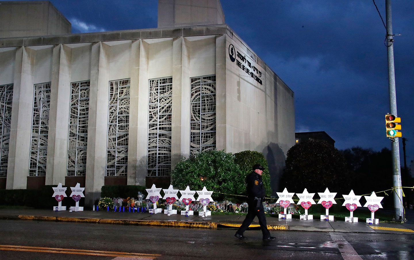 A memorial in Pittsburgh at the Tree of Life synagogue.