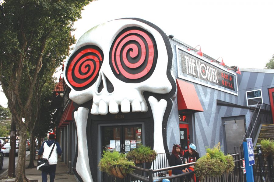 The Vortex bar and grill is one of Little Five Points most iconic spots. This location opened their doors just three days before Atlanta's 1996 Olympic Games