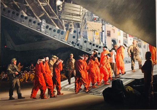 "This piece is on the second floor of the gallery at 21st Century Museum Hotel. It is oil on linen, titled ""Empire."" The artist, Steve Mumford, had hand-drawn documentation his experience in Iraq. Later, he compiled them to create moving works of art. ""Empire"" aims to illustrate the ""numbing weariness of war and anxious boredom of the soldiers' routine tasks,"" through capturing the image of blindfolded prisoners being ushered onto an aircraft with their hands tied.  (Quote taken from the description of the art on the wall of 21C)"