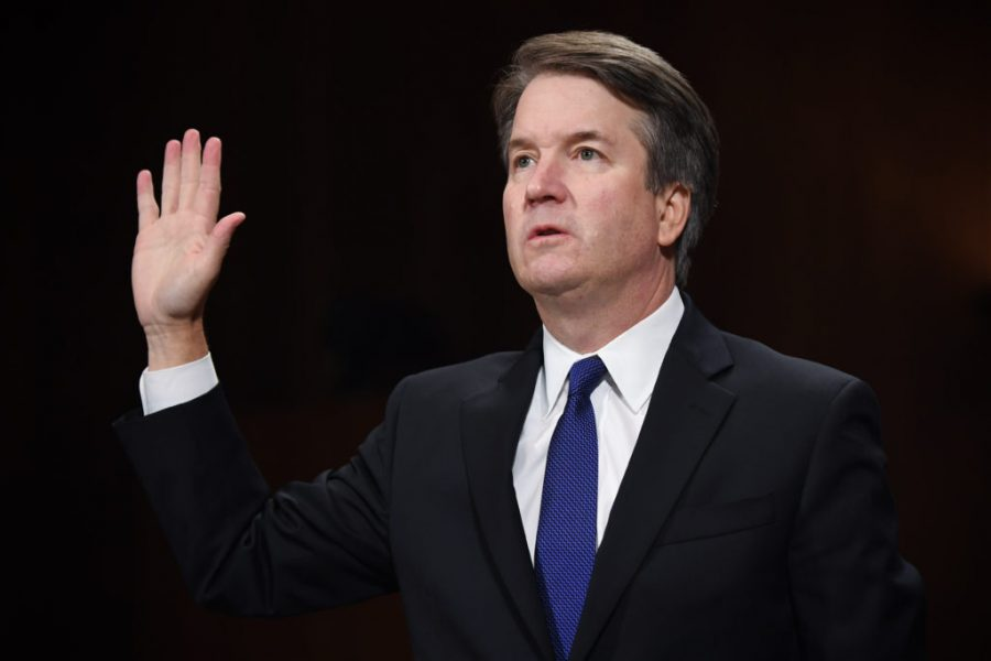 Supreme Court justice Brett Kavanaugh is sworn in before he testifies in a hearing on sexual-misconduct allegations.
