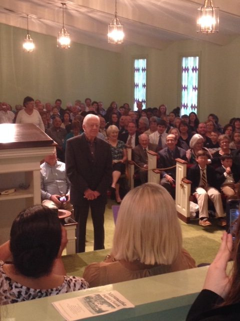 Former President Jimmy Carter starts off teaching Sunday school at Maranatha Baptist Church in his hometown of Plains. Ga. by asking people where they are from.