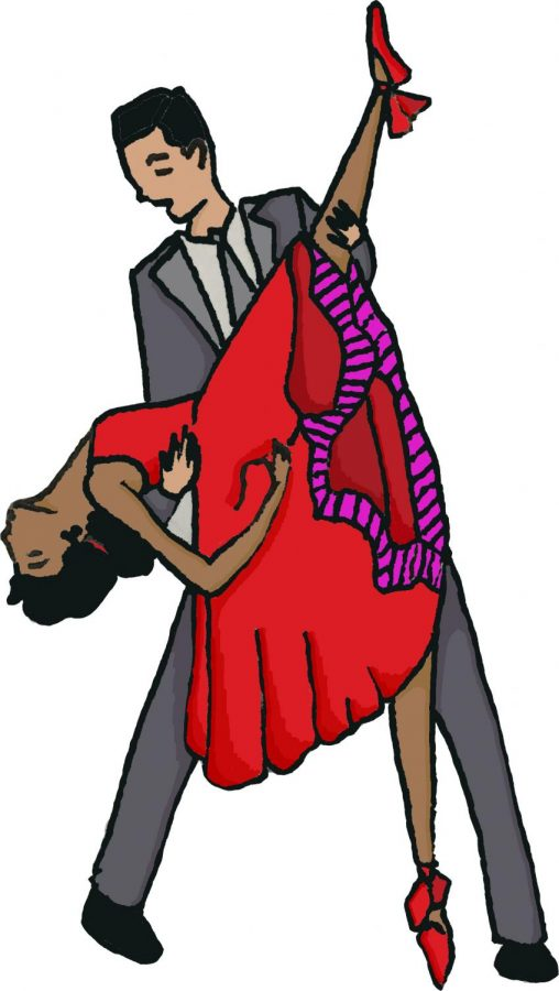 Tony and Maria, the main characters and protagonists in West Side Story, dance together.