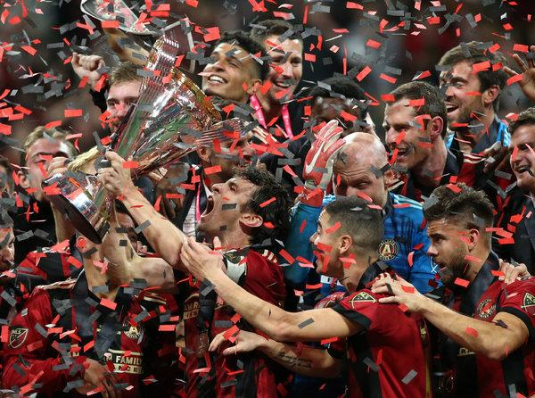 Atlanta United celebrate as champions of the MLS Cup. The five stripes won in the final game against Portland 2-0.