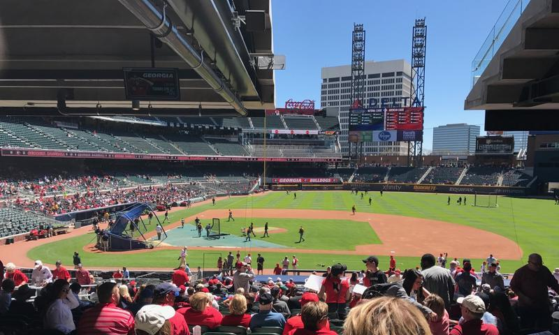 Many baseball stadiums experience large holes in the crowd like these in SunTrust Park as interest in baseball wanes nationwide.