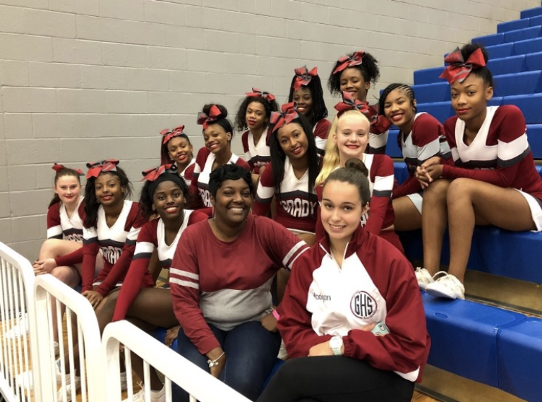 The Grady cheerleaders practice almost everyday to prepare for games.