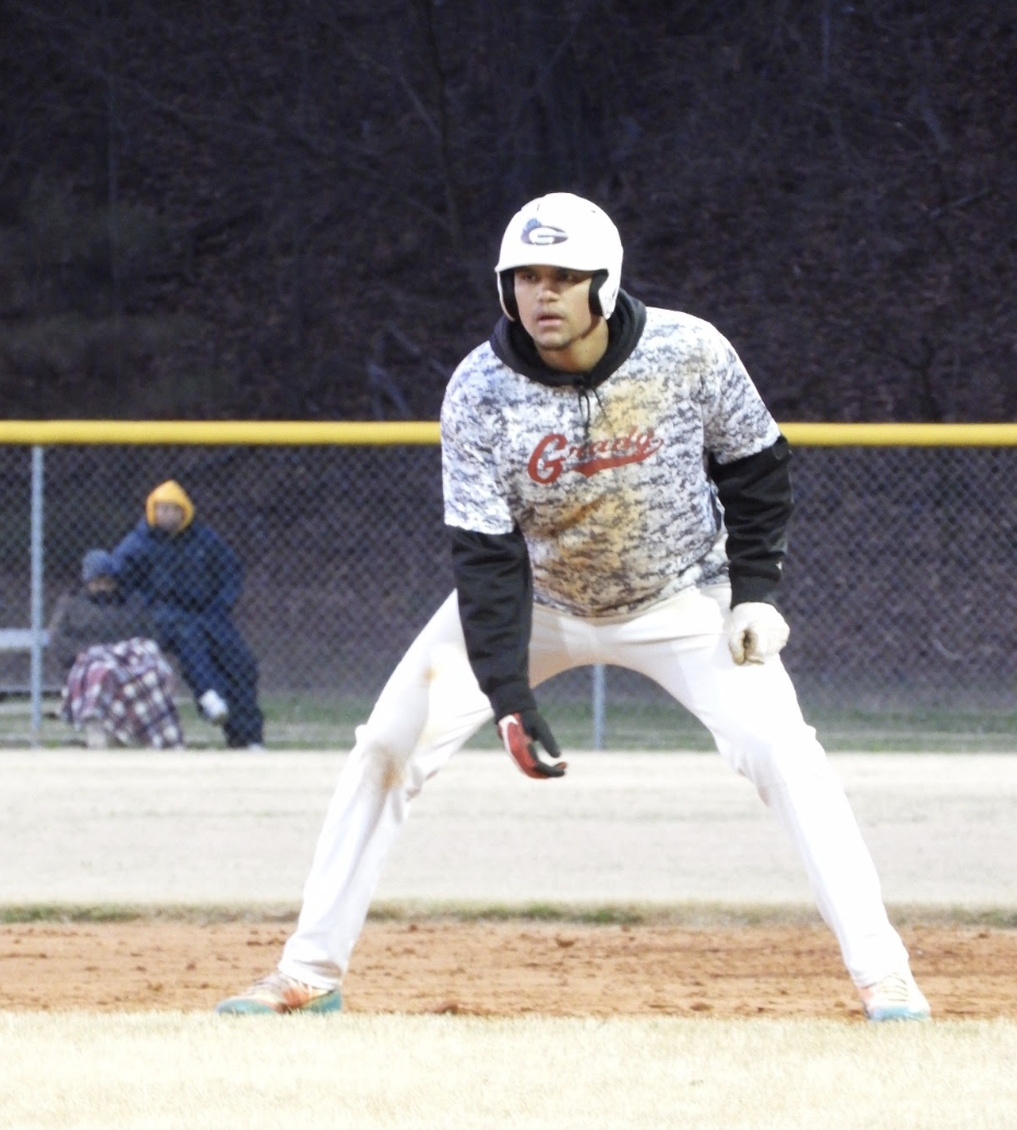 SLIDING INTO BASE: Senior Caleb Maloof committed to Southern University for baseball leads off base preparing to make a steal in a game during the 2018 season.