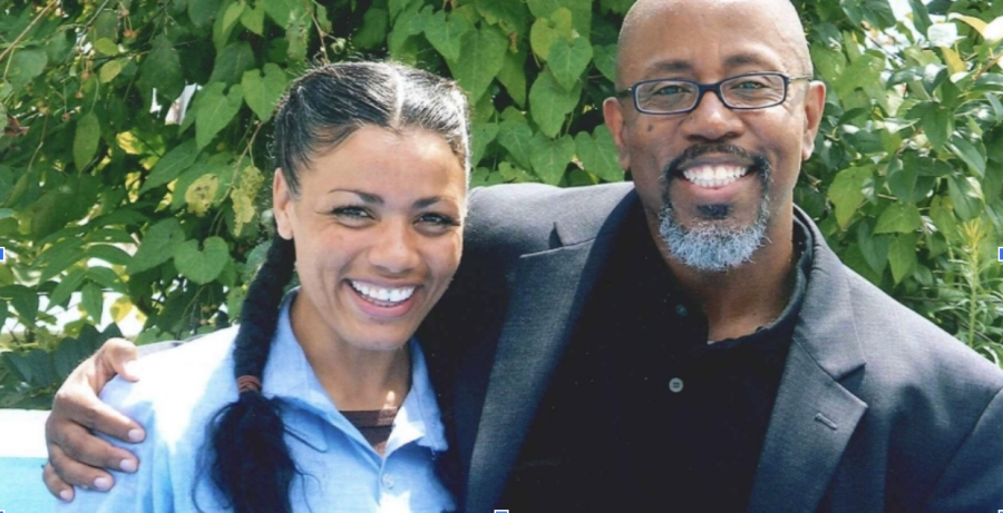 Tyra Patterson, left, with her attorney David Singleton, during her 23-year incarceration in Ohio for a murder she did not commit. Patterson was released on Christmas Day in 2017.