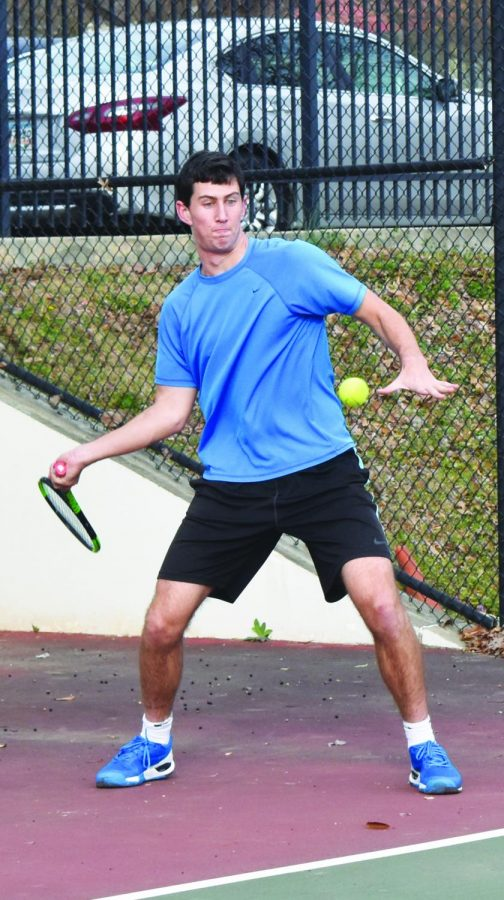 NOT+YOUR+AVERAGE+WOLFE%3A+Senior+Josh+Wolfe+strikes+a+forehand+during+tennis+practice+on+Feb.+23.+He+is+signed+to+attend+Lafayette+College+next+fall+to+play+tennis.+