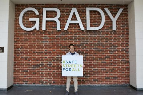 Founder of the Grady Pedestrian Safety Coalition Bria Brown advocates for #SafeStreetsForAll, an Atlanta Bike Coalition campaign, following a press conference in the Vincent Murray Auditorium on Feb. 12.