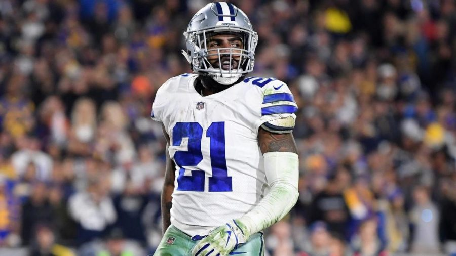 Dallas+Cowboys+running+back+Ezekiel+Elliott+held+out+before+the+start+of+the+NFL+season+for+a+larger+contract.