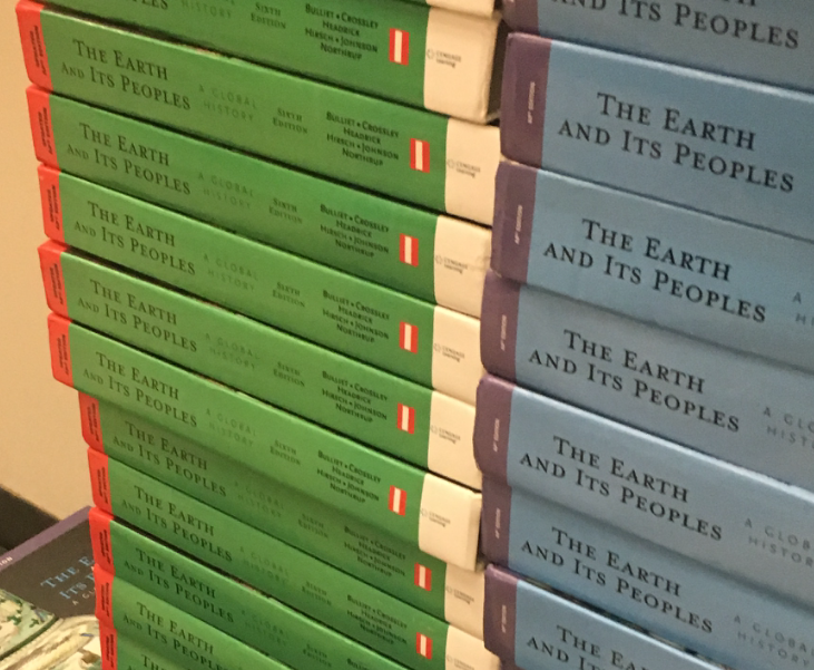 Stacks of AP World History textbooks sit in the AP World History classrooms. They are not updated, and classes will use them starting at page 300.